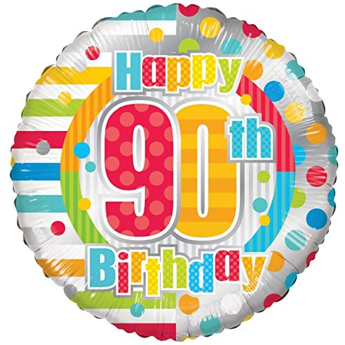 Happy 90th Birthday 18'' Mylar Balloon Rainbow Confetti Birthday Party Decorations Supplies