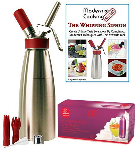 Combo - iSi Gourmet Quart - 24 Professional iSi Chargers - Whipping Siphon Book