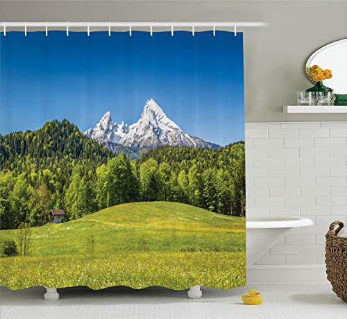 Ambesonne Room Decorations Shower Curtain Set, Bavarian Alps with Village of Berchtesgaden and Watzmann Massif, National Park, Germany, Bathroom Accessories, 75 Inches Long, Blue Green