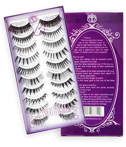 de Prettilicious False Eyelashes, 10 Style Pairs with