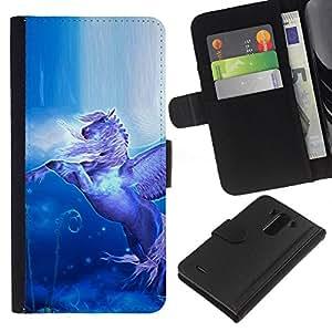 Planetar® Modelo colorido cuero carpeta tirón caso cubierta piel Holster Funda protección Para LG G3 ( Pegasus vuelo Alas Caballo Místico Azul )