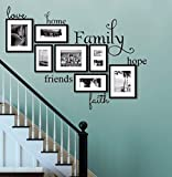 Love, Home, Hope, Family, Friends, Faith, Inspiring Words and Quotes Wall Decals Size