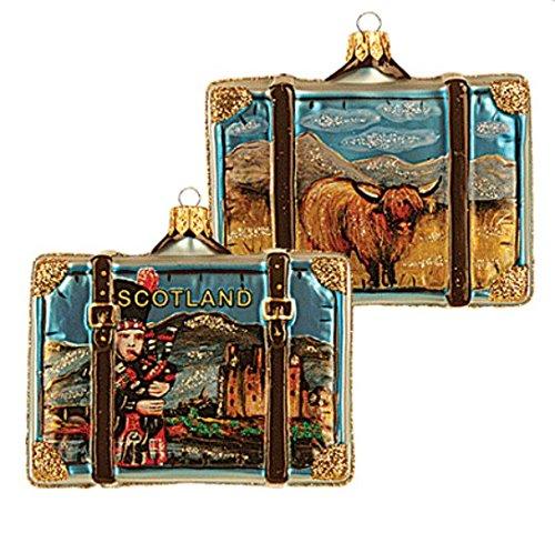 (Scotland Suitcase Highland Cow and Bagpipe Polish Glass Christmas Ornament Travel Souvenir Decoration 069)