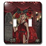 3dRose Heike Köhnen Design Fantasy - Gothic, fantasy women with candle light - Light Switch Covers - double toggle switch (lsp_264561_2)