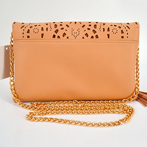Bag Tote Out 949 Envelope Clutch Handbag Pu Flower Leather Shoulder Hollow Bag Chain Evening Women's Beige Meliya n71Awxgwf