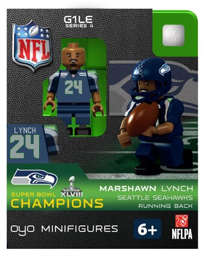 2013 Marshawn Lynch Super Bowl XLVIII 48 Champions Oyo Mini Figure Lego Compatible Seattle Seahawks production limitée