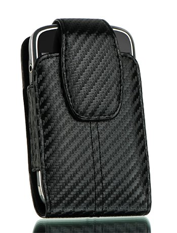 For Premium Luxurious Black Carbon Fiber Leather Pouch Vertical Holster Case with Belt Clip for Blackberry Curve 8300, 8310, 8320, 8330, Storm 9500, 9530, 9550, Bold 9000, Onyx 9700 Bold -