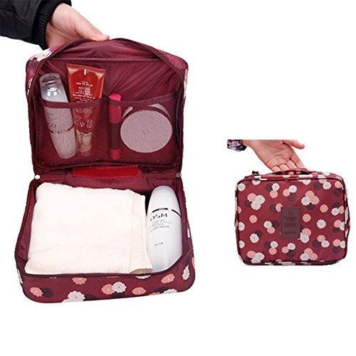 Cosmetic Organizer for Cases Toiletry With Pouches Red 5 Capacity Travel Makeup Bags girls Bag Flower Large women Compartments zIAq8