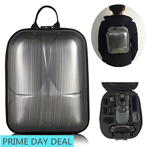 DJI Mavic Pro Hard Shell Backpack Case ,Upgraded Most Compact (13.8x10.6x6.5'' only & Could Carry extra 3 Batteries ) Waterproof Anti-Shock PC Carrying Bag (Mini Backpack for Mavic(Black)) by Dreamlizer