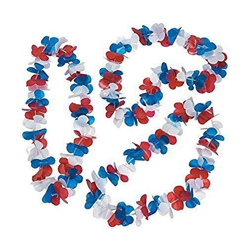 Patriotic Flower Leis. (50 Pcs. Per Unit) Plastic. Approx. 34'' - Luau Party Favors, 4th of July