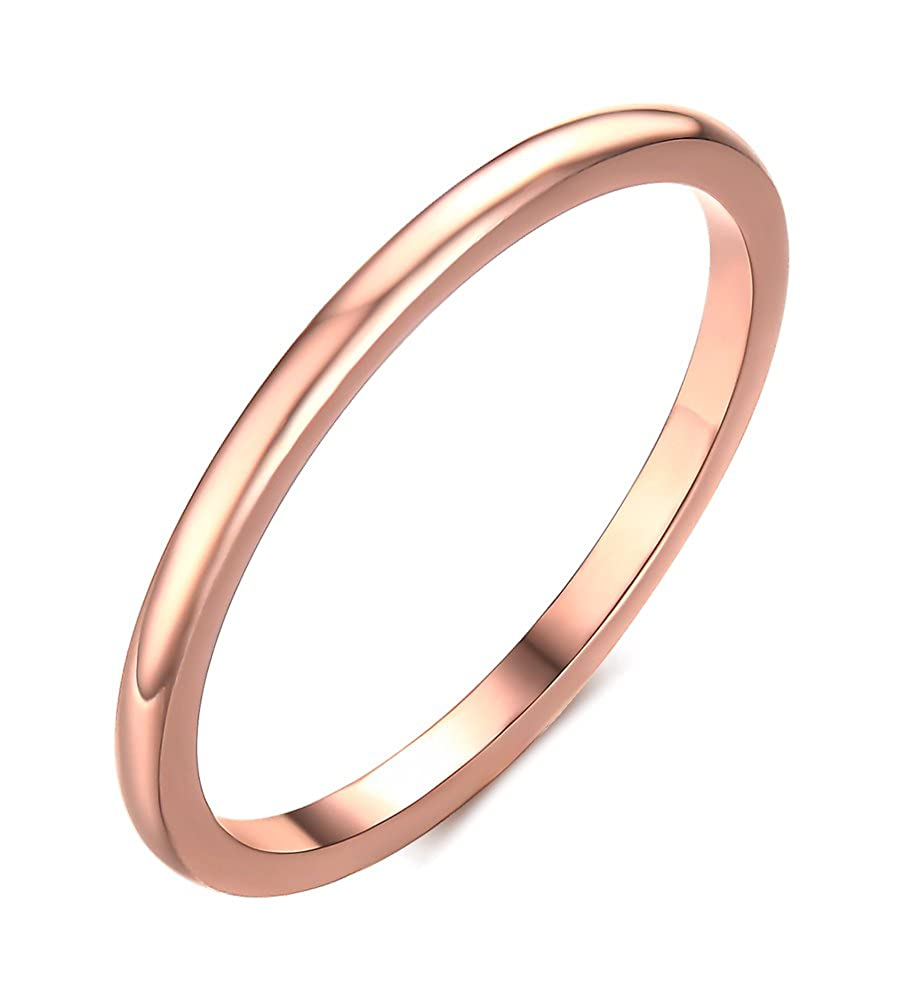 Vnox 1.5mm Women's Stainless Steel Plain Band Wedding Ring, Rose Gold Size 6-8 VNOX Jewelry R--235R