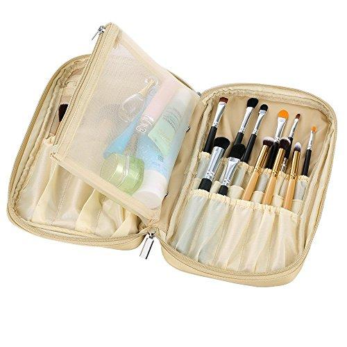 Hotrose Multifunktionale Kosmetiktasche Make-up Organizer Pinsel Aufbewahrung Tasche Pinseltasche für Reise und zu Hause (Gold)