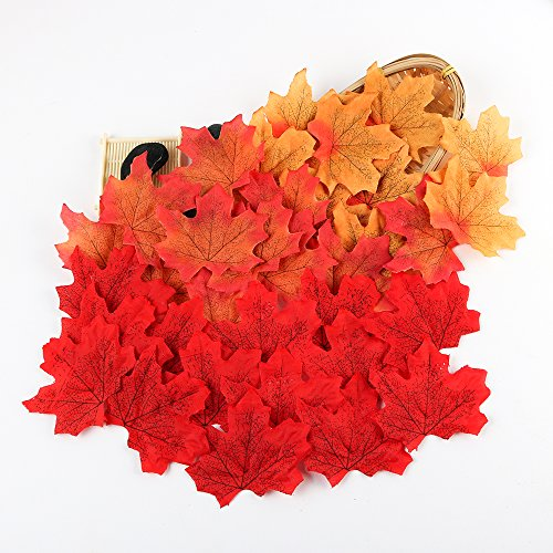 - Artificial Maple Leaves, Autumn Fall Leaves Bulk Assorted Multicolor Mixed Garland Decorations Weddings, Events Decorating (300pcs)