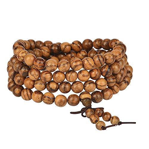 - anzhongli mala Beads Bracelet 108 8mm Beaded Bracelet Sandalwood Elastic