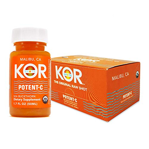 Kor Shots Potent C – Certified by Organic Certifiers Cold Pressed, Dietary Supplement, Immunity Boosting, Vitamin-C, Energy Juice Shot – 12 Pack