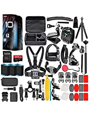 $674 » GoPro HERO10 (Hero 10) Black - Waterproof Action Camera with Front LCD and Touch Rear Screens, GP2 Engine, 5K HD, 23MP Photos, Live Streaming, 64GB Card, 50 Piece Accessory Kit and 2 Extra Batteries