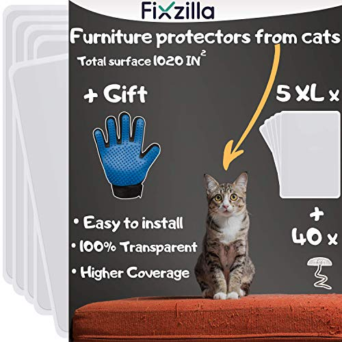 Furniture Protectors from Cats - 5 XL Pack - Cat Scratch Deterrent - Cat Repellent for Furniture - Couch Protector from Cats - Includes Cat Grooming Glove