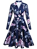 Zeakee Women Casual Floral Print Wrap V Neck Long Sleeve Party Dress...