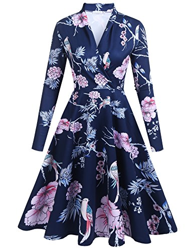 Zeakee Women Casual Floral Print Wrap V Neck Long Sleeve Party Dress Navy Blue Floral XX-Large (Flare Wrap Print)