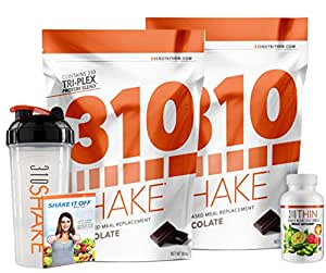 310 Shake Chocolate (28 SRV) - Healthy Meal Replacement Shake (QTY 2) + free 310 Thin & 310 Shaker with eBook