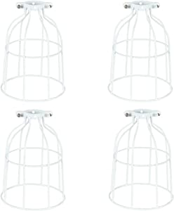 4 Packs Metal Bulb Guard, for Pendant Light, Vintage Lamp Holder, Ceiling Fan Light Bulb Covers, Open Style Industrial Grade Adjustable, DIY Metal Wire Cage Light Fixture Lamp Guard, Upgrade White