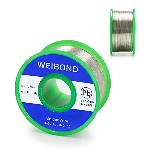 WeiBonD Lead Free Solder Wire with Rosin Core for Electrical Solder, 0.6mm, Net Weight 0.22lb