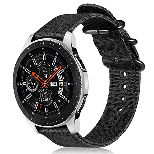 Fintie for Galaxy Watch 46mm and Gear S3 Bands, Soft Canvas Nylon 22mm Watch Band Adjustable Replacement Sport Strap for Samsung Galaxy Watch 46mm and Gear S3 Classic Frontier Smartwatch, Black
