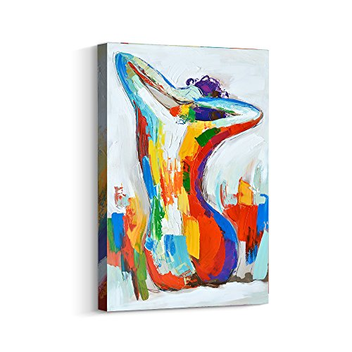Crescent Art Contemporary Abstract Nude Naked Sexy Women Body Painting on Canvas Print Wall Art Picture for Home Living Room Wall Decor (24 x 36 inch, A Framed)
