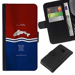 LECELL--Cuero de la tarjeta la carpeta del tirón Smartphone Slots Protección Holder For HTC One M9 -- Casa Tully --