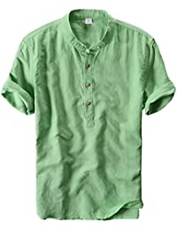 Men's Retro Chinese Style Short Sleeve Linen Henley Shirts
