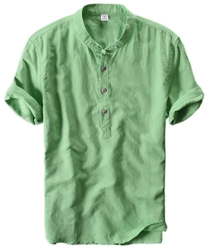 utcoco Men's Retro Chinese Style Short Sleeve Linen Henley Shirts (Medium, Green) (Vintage Green Light)