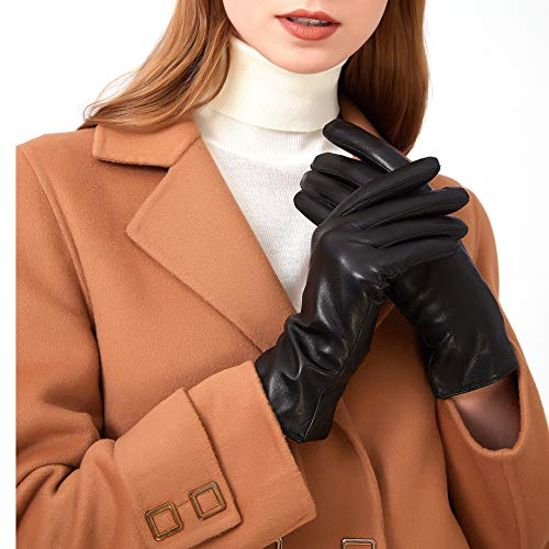 (Leather Gloves for Women - Deluxe SheepSkin Leather women's Gloves Cashmere Lining )