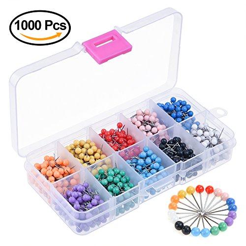 Kuuqa 1000 Pieces 1/8 inch Map Push Pins Map Tacks 10 Colors (Each Color 100 PCS)