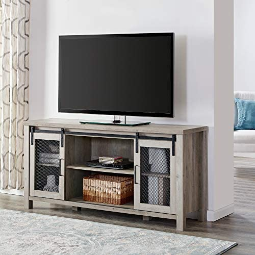 Walker Edison Furniture Company Modern Farmhouse Sliding Grooved Wood Stand for TV s up to 65 Cabinet Door Living Room Storage Entertainment Center, 58 Inch, Grey Wash