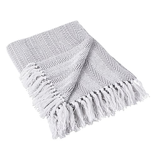 DII Woven Throw, Herringbone Stripe Gray