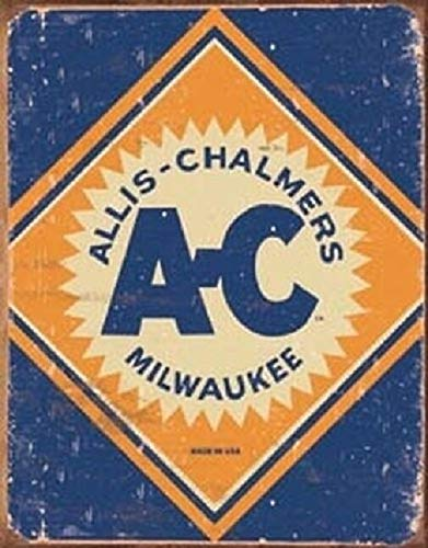 (SRongmao Allis Chalmers Logo Tractor Farm Plow Distressed Retro Vintage Look Wall Decor Metal Tin Sign)