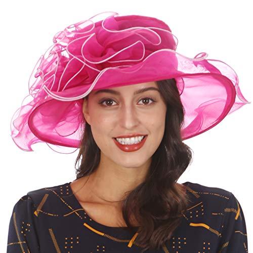 Ladies Wide Brim Organza Derby hat for Kentucky Derby Church Tea Party Wedding(S020-Hot Pink/White Rim)