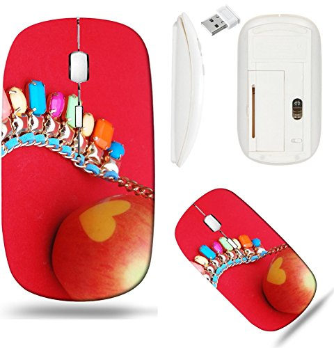 Liili Wireless Mouse White Base Travel 2.4G Wireless Mice with USB Receiver, Click with 1000 DPI for notebook, pc, laptop, computer, mac book Necklace with gems heart apple Image ID 23015784 ()