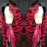 13x6 Lace Front Wig Brazilian Virgin Human Hair Lace Front Wigs 150% Density Natural Color and Ombre 1B/Red Body Wave for Women (18 inch 150% density, Lace front wig)