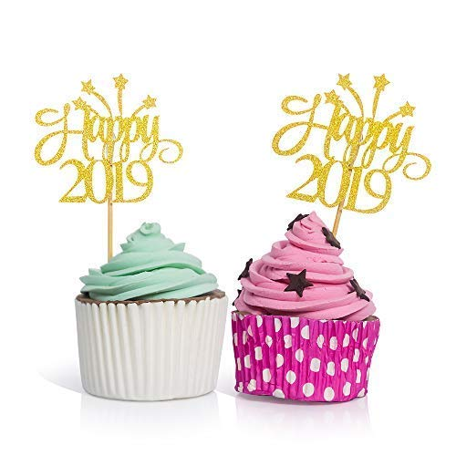 Price comparison product image Happy 2019 Cupcake Toppers Gold - 50PCS New Years Eve Decorative Party Cupcake Toppers 2019 Number Glitter Food Picks Cupcake Toothpicks for New Year Christmas Birthday Graduation Party Decorations