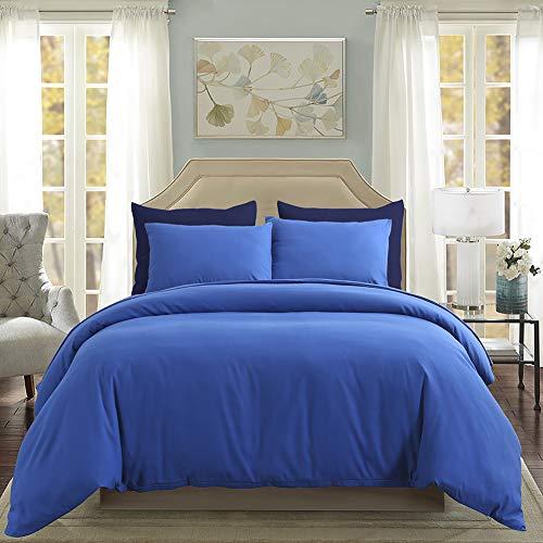 3 Pieces Royal Blue Bedding Sapphire Blue Microfiber Duvet Cover Set King(104