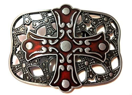 Pewter Belt Buckle Cross - Cross pewter Black Dark Red Mens Belt Buckle ✖ Celtic Medieval Crosses in background Style Metal Pewter color enamel SuperGifts