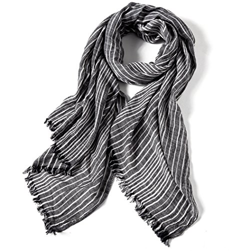 Stripe Crinkle Scarf (WS Natural Women Cotton Crinkle Scarf Shawl Sunscreen Super Soft Light Weight Scarves Stripes (Grey))