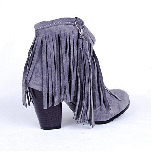 Grigio Grigio Grigio CularAcci Tacco Blocco Classico Fringe Stivali Stivali Stivali A Donna wq60wnzH