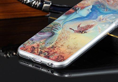 """JewelryWe Schönheit Mädchen und Schwane Malerei Design TPU Silikon Handy Case Schutzhülle Tasche Hülle Rückenschutzhülle Etui für Apple iPhone 6(4,7""""), Mehrfarbig"""
