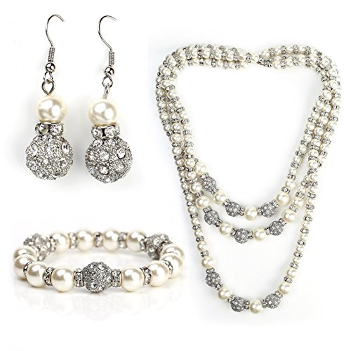 Earrings Necklace Strand Crystal Swarovski - United Elegance Stunning Faux Pearl Set - Graduated 3-Strand Necklace, Drop Earrings and Coordinating Bracelet with Swarovski Style Crystals