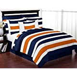 Sweet Jojo Designs 3-Piece Navy Blue, Orange and White Childrens, Teen Full/Queen Boys Stripe Bedding Set Collection