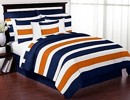 Sweet Jojo Designs Navy Blue, Orange and White Stripe 4 Piece Childrens,  Teen Boys Twin Bedding Set Collection