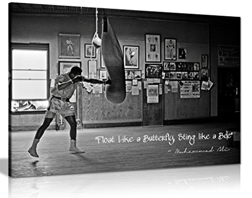 Muhammad Ali Champion Quote Float Like A Butterfly Canvas Wall Art Picture Print (30x20in)