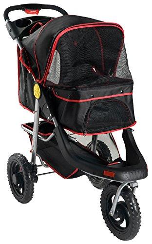Merax One Hand Collapse Three Wheels Folding Pet Dog Cat Stroller Travel Carrier Light Weight Multifuction Stroller